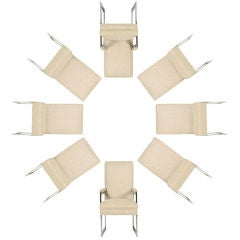 Set of Eight Aluminium Flat Bar Dining Chairs by Pace