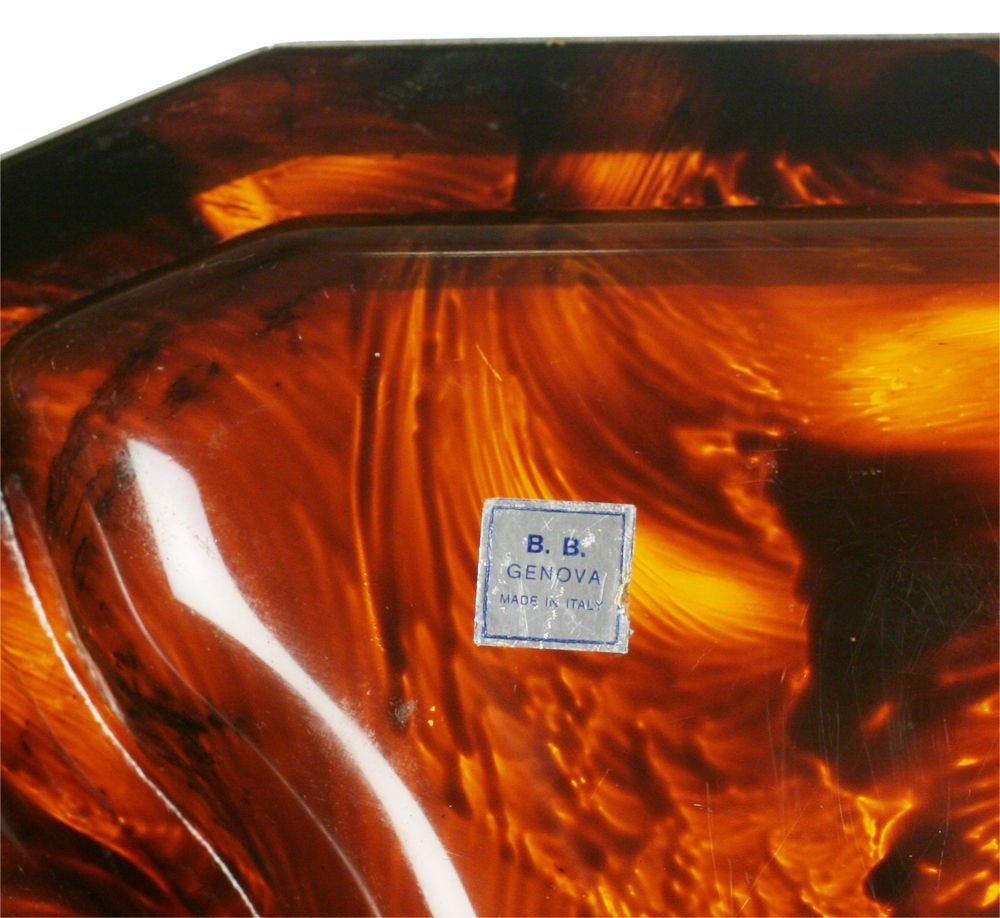 Bakelite Faux Tortoise Shell and Chrome Steel Banded Divided Tray For Sale