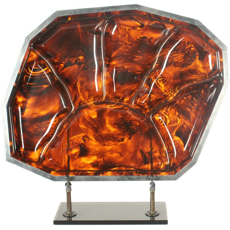 Faux Tortoise Shell and Chrome Steel Banded Divided Tray For Sale