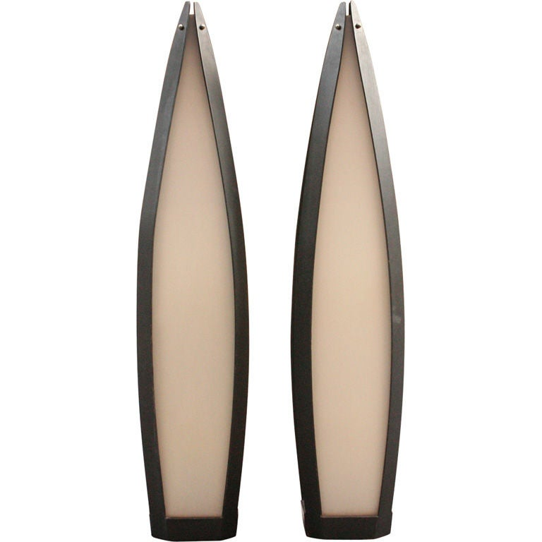 Pair of Elongated Tear Drop Lantern Table Lamps