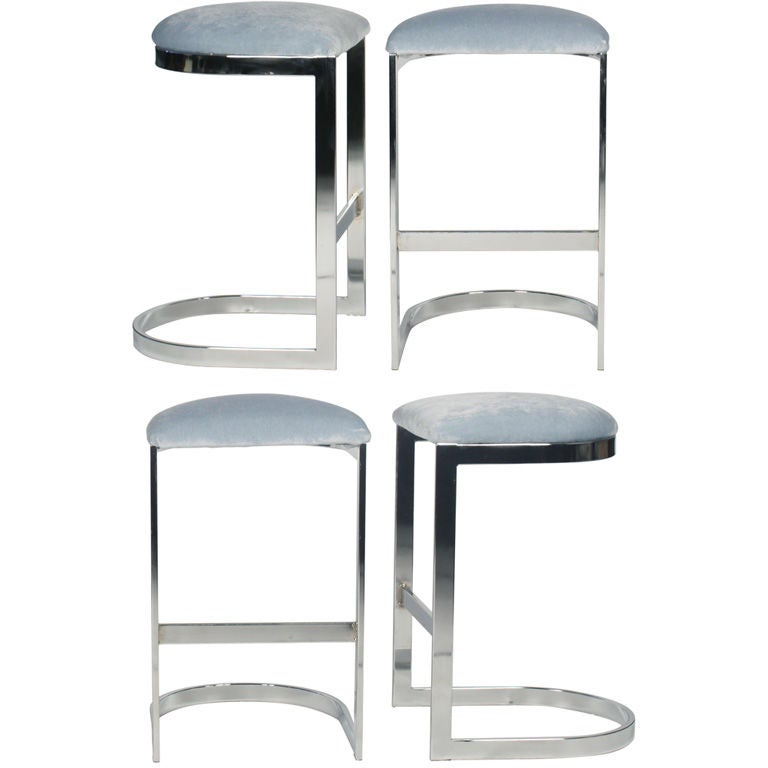 Set Of Four Chrome Cantilevered Bar Stools After Milo