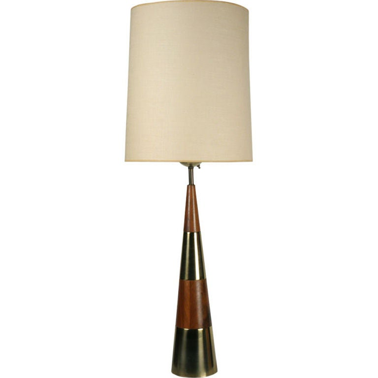 conical wood and brass table lamp by tony paul for westwood for sale at 1stdibs. Black Bedroom Furniture Sets. Home Design Ideas