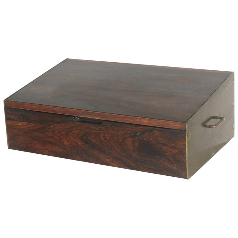 Danish Rosewood and Brass Pivot Top Jewelry Box