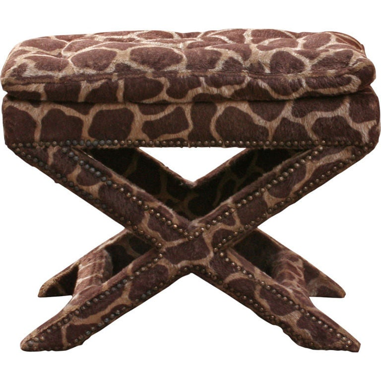 Giraffe Print Upholstered X-Frame Bench after Billy Baldwin