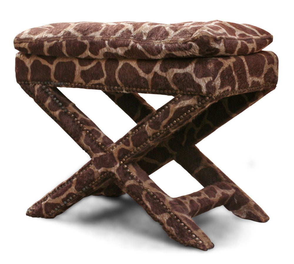 Giraffe Print Upholstered X Frame Bench After Billy Baldwin For Sale At 1stdibs