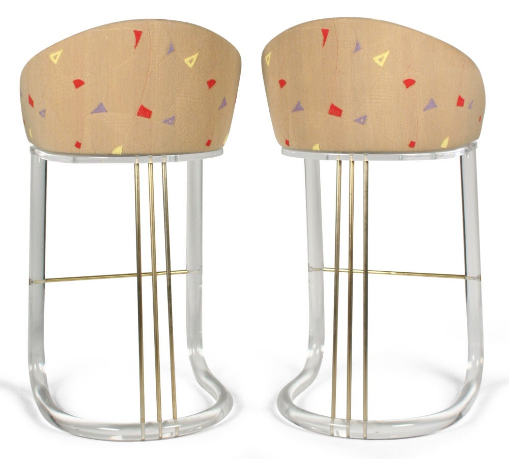 Pair Of Lucite Barrel Back Swiveling Bar Stools By Leon