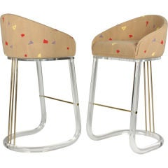 Pair of Lucite Barrel Back Swiveling Bar Stools by Leon Frost