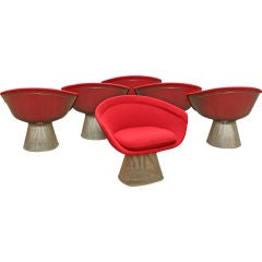 Set of Six Nickel Wire Frame Lounge Chairs by Warren Platner
