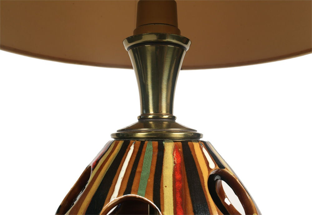 Hand Painted Multi Colored Stripe Ceramic Table Lamp By Stiffel For Sale At 1stdibs