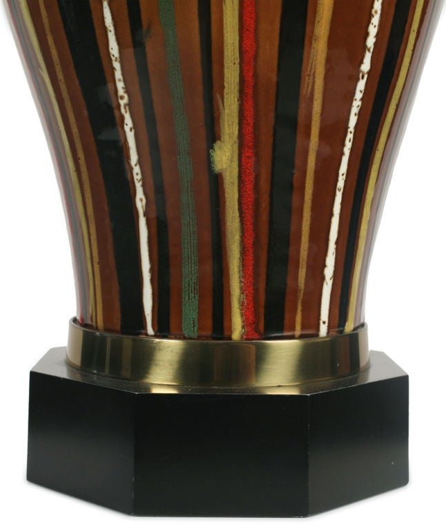 Hand Painted Multi Colored Stripe Ceramic Table Lamp By
