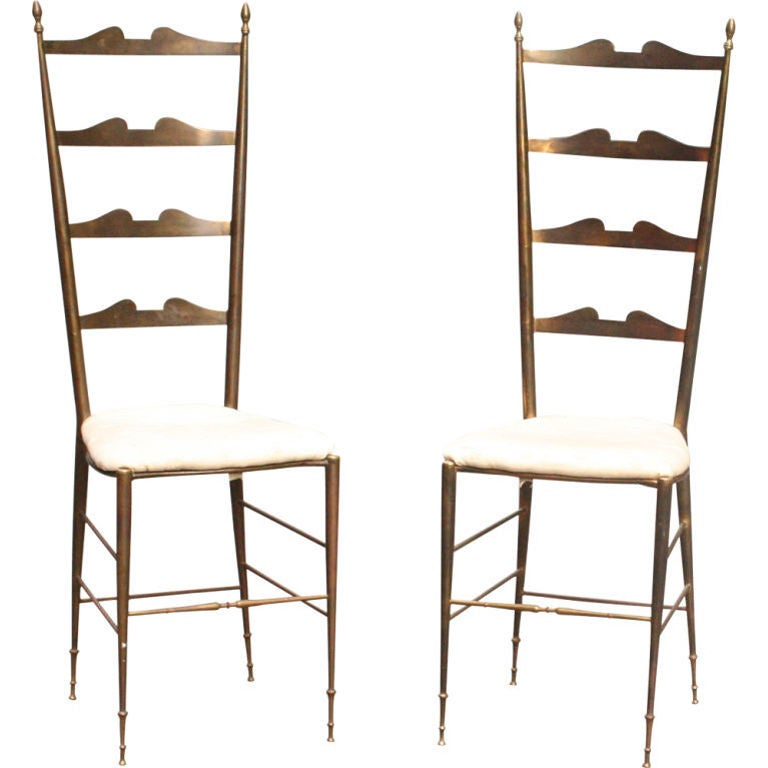 Pair of Tall Ladder Back Side Chairs by Chiavari