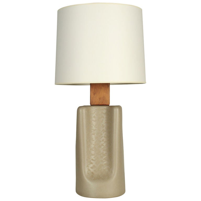 """Broad """"Pinched"""" Ceramic Table Lamp by Gordon Martz"""