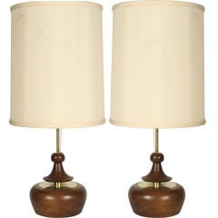 Pair of Turned Wood and Brass Table Lamps by Modeline
