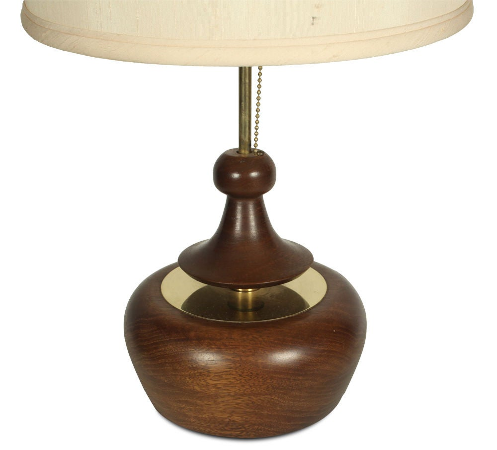 pair of turned wood and brass table lamps by modeline for sale at 1stdibs. Black Bedroom Furniture Sets. Home Design Ideas