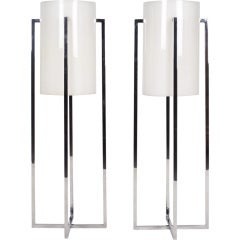 Pair of Tall Cruciform Table Lamps by Robert Sonneman