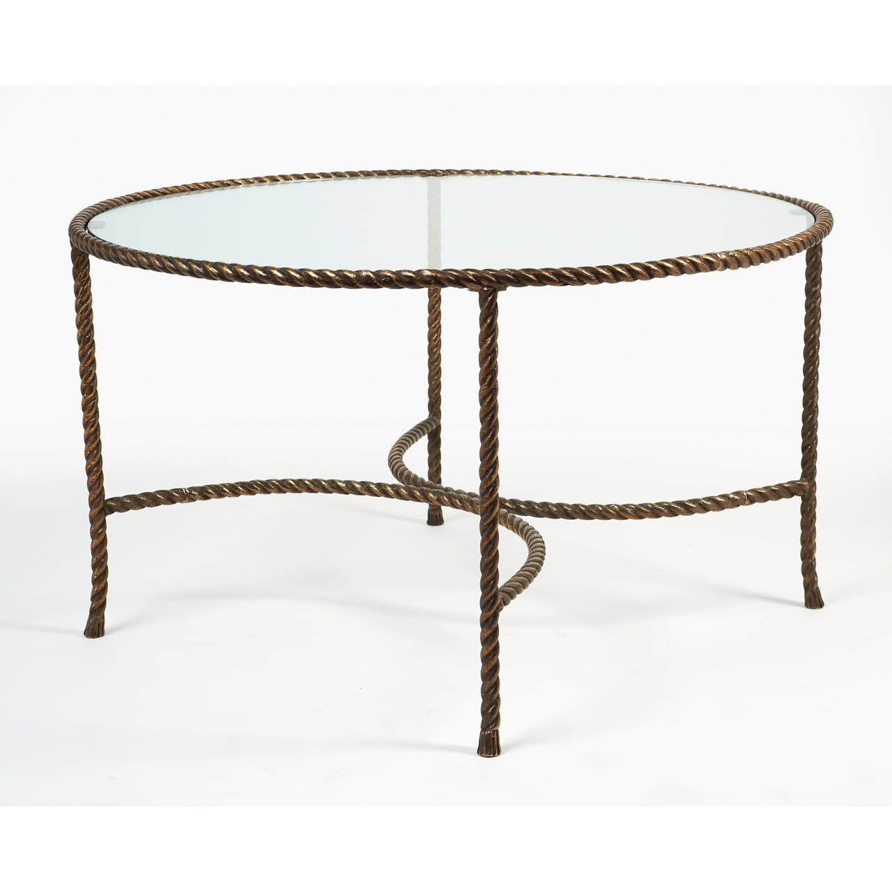 italian round solid bronze 'rope and tassle' cocktail table for