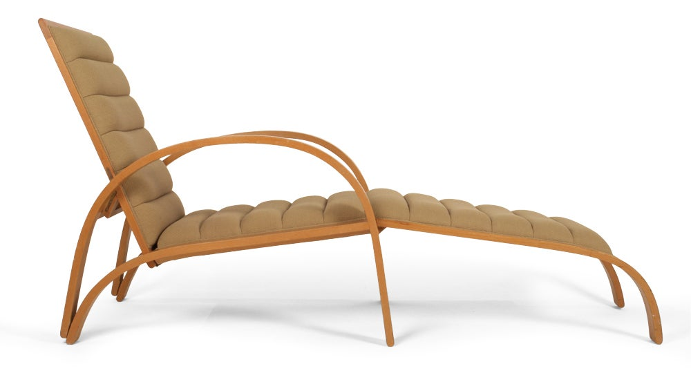 Steam bent ash frame chaise longue by ward bennett for for Chaise longue frame