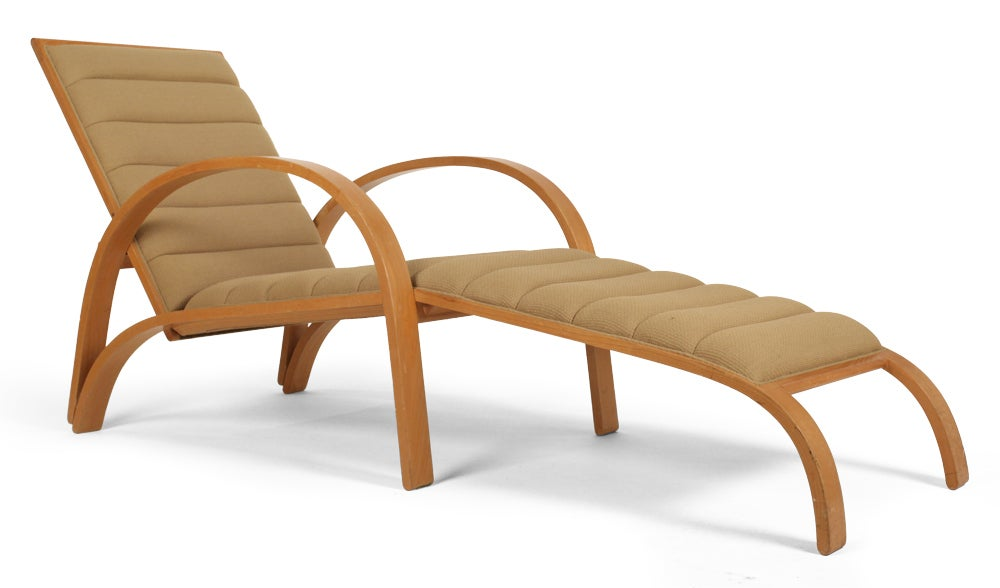 steam bent ash frame chaise longue by ward bennett for