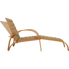 Steam Bent Ash Frame Chaise Longue by Ward Bennett for Brickel