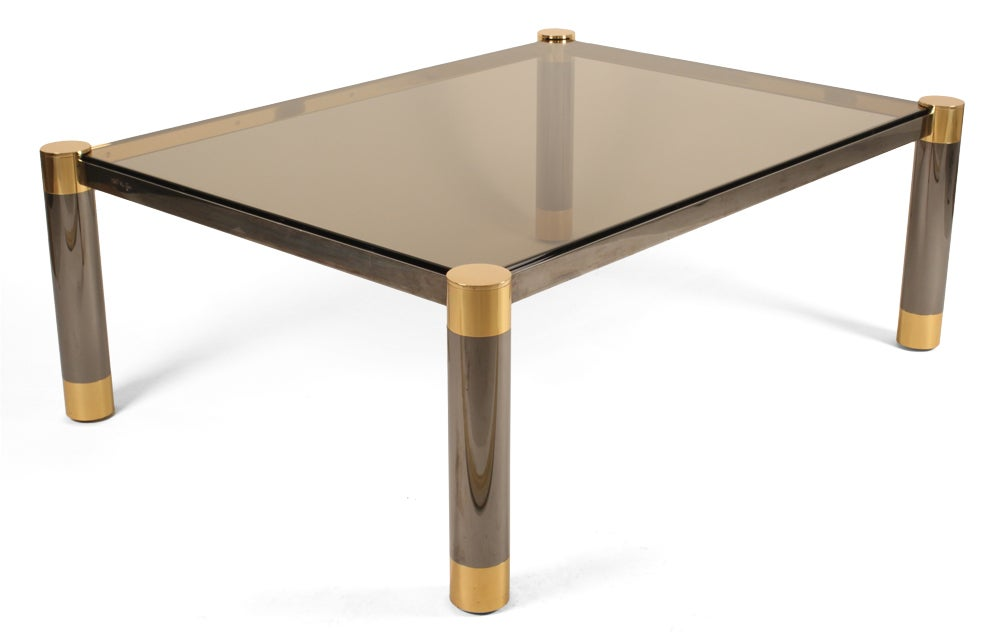 24k Gold Gunmetal Smoked Glass Cocktail Table By Karl Springer At 1stdibs