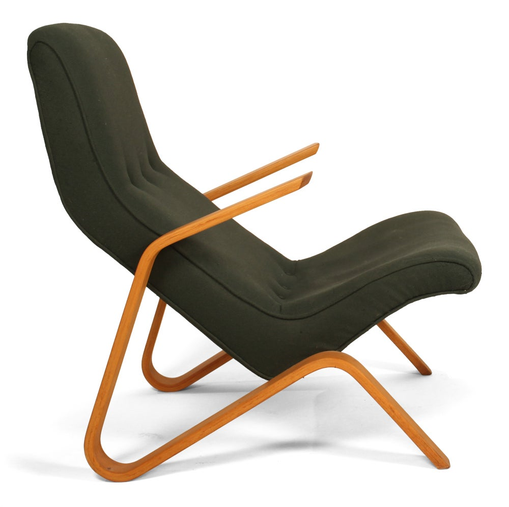 vintage grasshopper chair and ottoman by eero saarinen for k