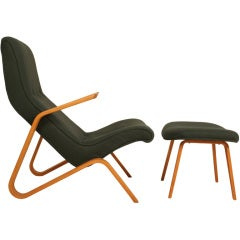 Vintage Grasshopper Chair and Ottoman by Eero Saarinen for Knoll