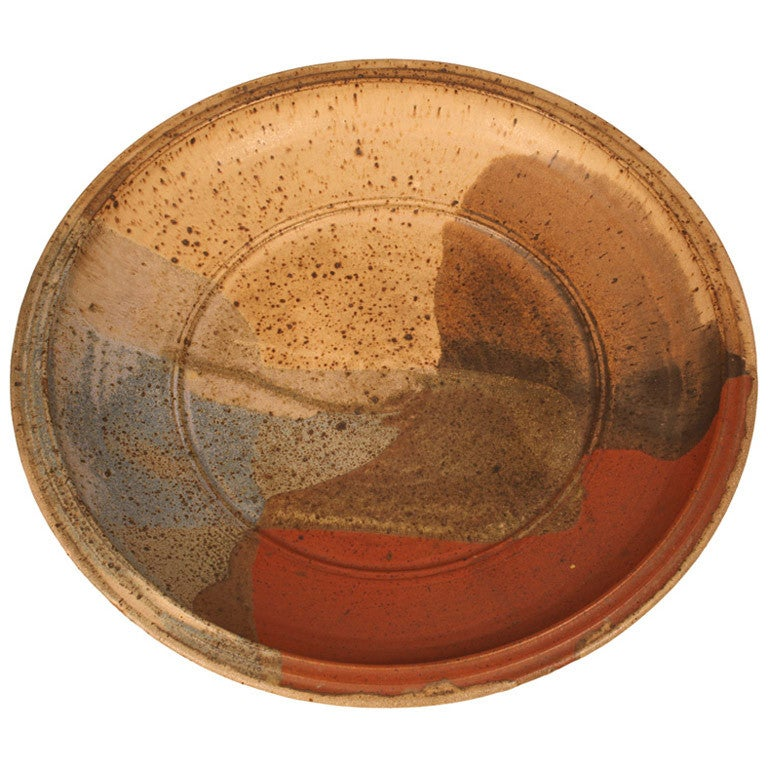 Abstract Glazed Stoneware Charger, Signed