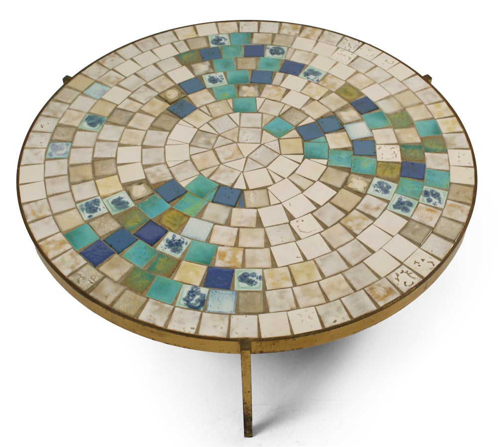 Tile Top Bronze Frame Circular Cocktail Table By Mosaic House At 1stdibs