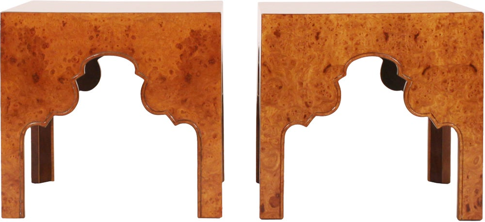 Pair of Burl Silhouette Occasional Tables by Drexel 2