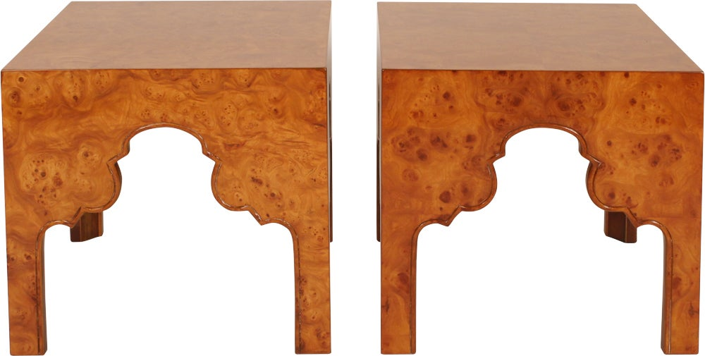American Pair of Burl Silhouette Occasional Tables by Drexel For Sale