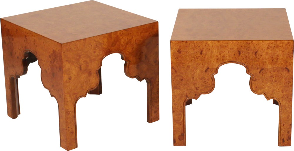 Pair of Burl Silhouette Occasional Tables by Drexel In Excellent Condition For Sale In New York, NY