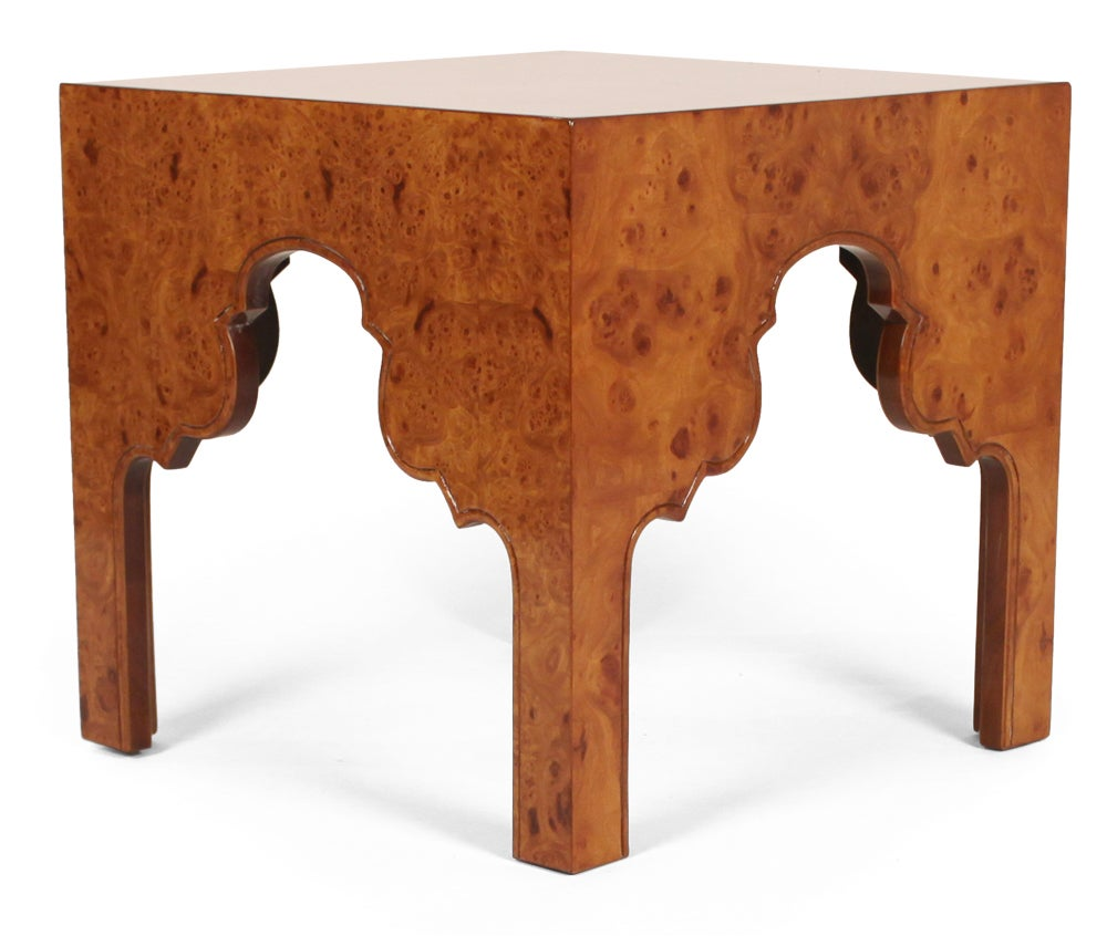 Pair of Burl Silhouette Occasional Tables by Drexel For Sale 2