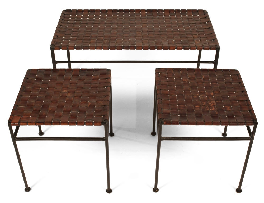 Set of three woven leather and wrought iron nesting tables