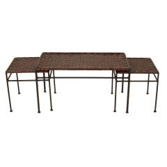 Set of Three Woven Leather & Wrought Iron Nesting Tables