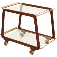 Austrian Midcentury Walnut and Brass Serving Trolley