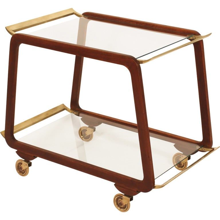 austrian mid century walnut and brass serving trolley for. Black Bedroom Furniture Sets. Home Design Ideas