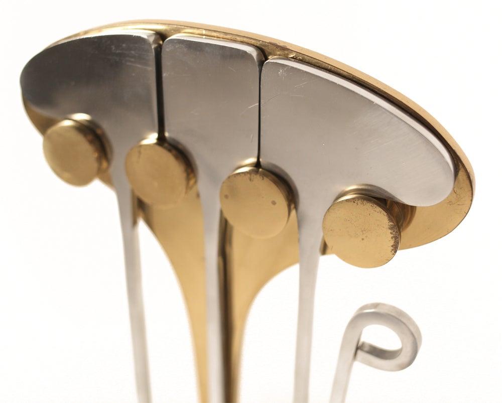 Brass Steel Ligne Inox New Age Firetools by Jean-Paul Creations For Sale