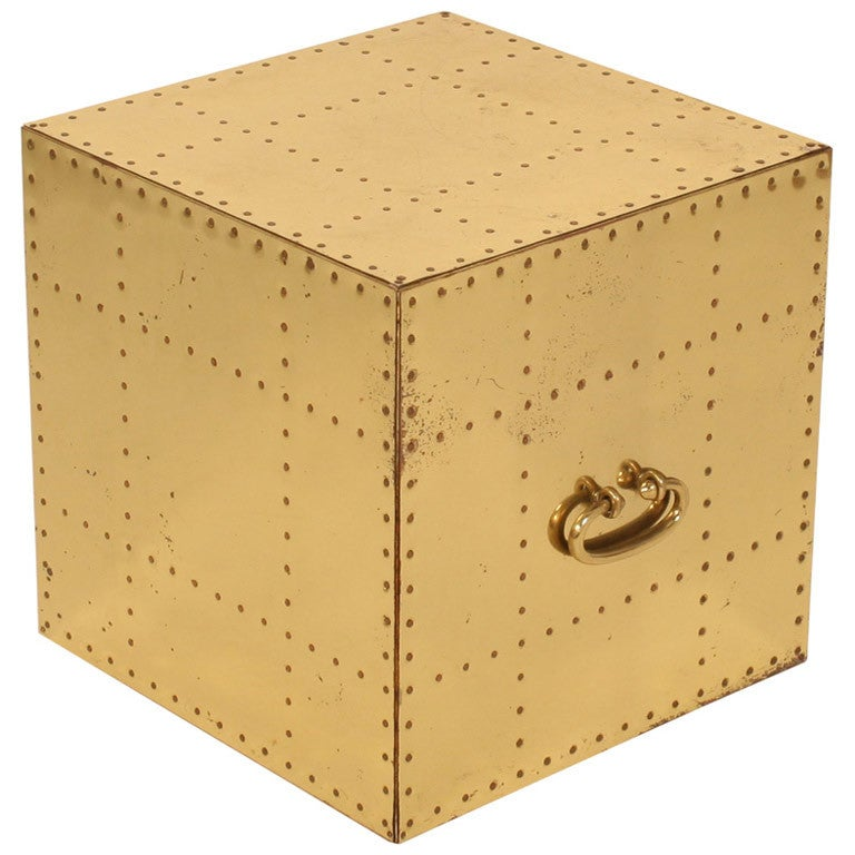 Pair of Polished Brass Studded Cube Box Tables by Sarreid, Ltd
