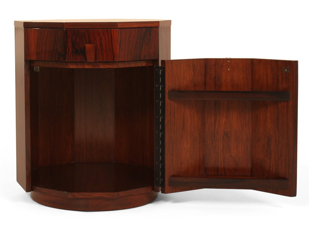 Pair of rosewood decagon dry bar cabinets by harvey for Home dry bar furniture
