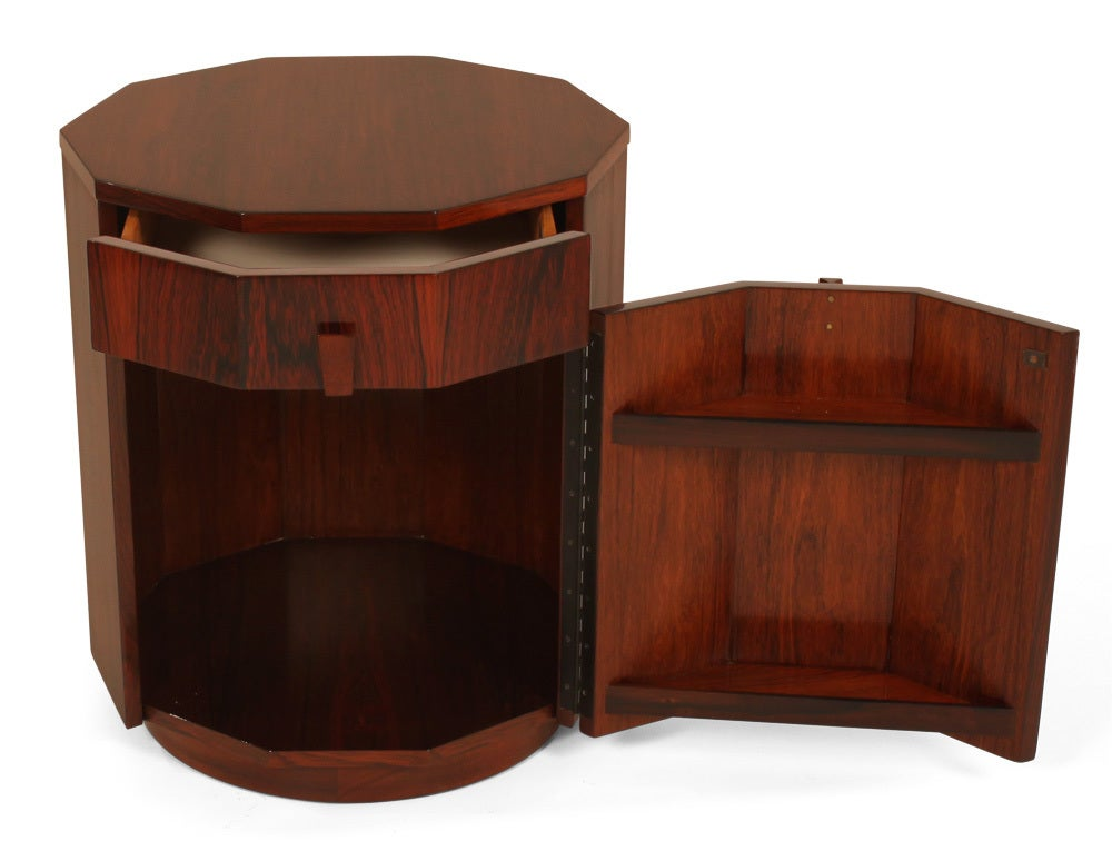 Pair Of Rosewood Decagon Dry Bar Cabinets By Harvey Probber At 1stdibs