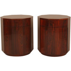 Pair of Rosewood Decagon Dry Bar Cabinets by Harvey Probber