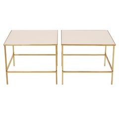 Pair of Brass and Vitrolite Side Tables after Harvey Probber