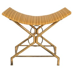 Italian Brass Saddle Scoop Seat Bench after Gio Ponti