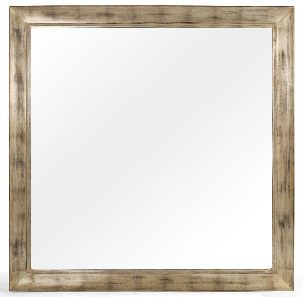 Large Square Silver Leaf Mirror by James Mont For Sale at ...
