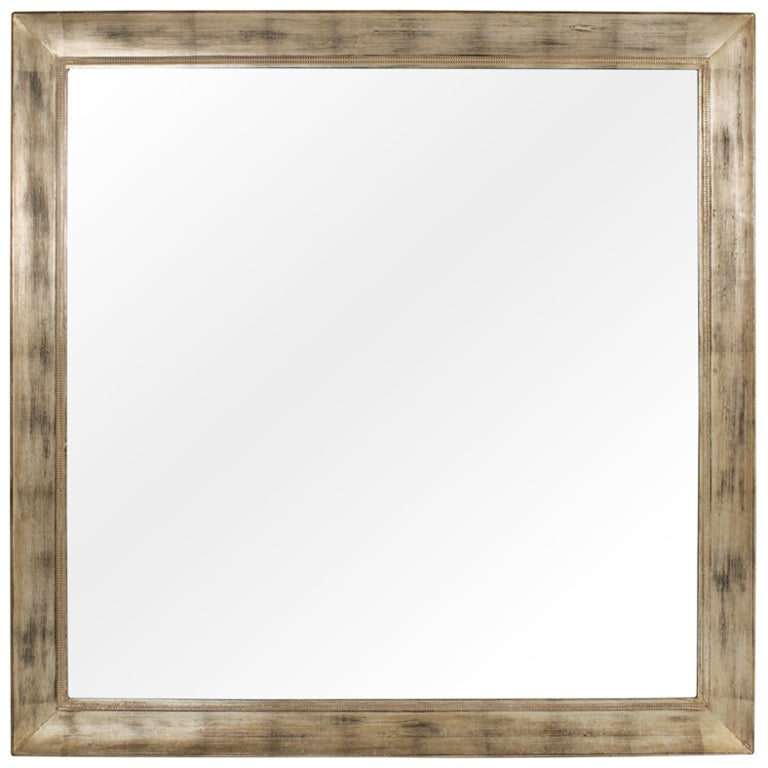Large Square Silver Leaf Mirror by James Mont For Sale