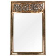 'Grape Harvest' Frieze Enamel Silver Frame Mirror by Studio Del Campo