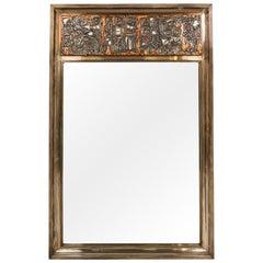 'Grape Harvest' Frieze Enamel Silver Frame Mirror by Studio Del Campo Torino, IT