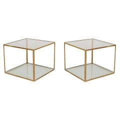 Pair of Chic Open Cube Brass Frame and Glass Occasional Tables