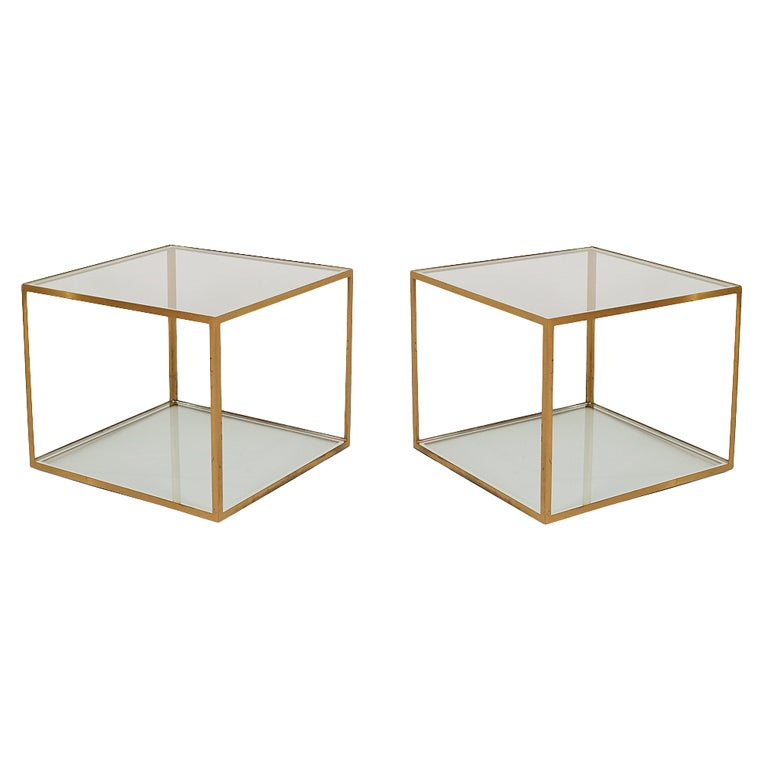 Pair Of Chic Open Cube Brass Frame And Glass Occasional Tables 1