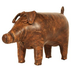 Hand-Stitched Leather Piggy Ottoman